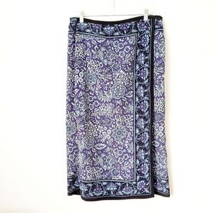 90s Vintage SagHarbor Floral Paisley Pu Wrap Skirt
